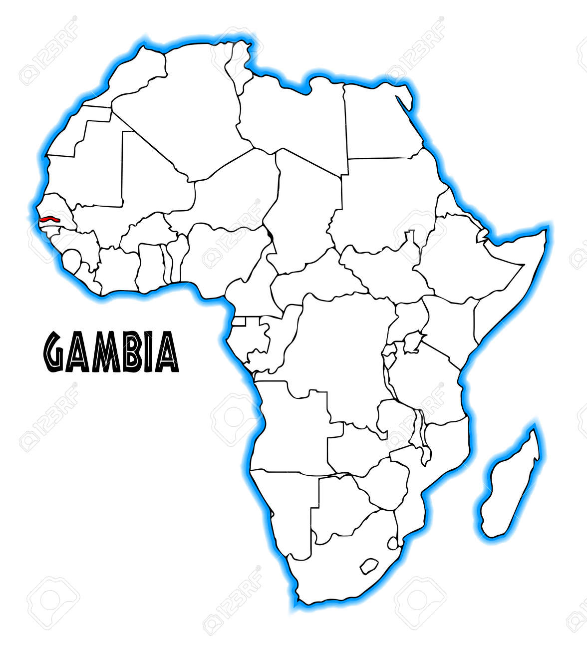 Gambia Outline Inset Into A Map Of Africa Over A White Background