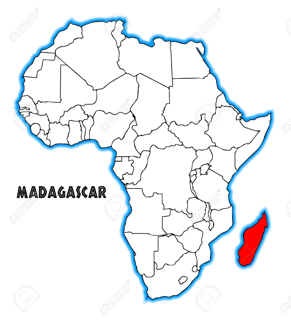 Map Of Africa Madagascar.Madagascar Outline Inset Into A Map Of Africa Over A White Background