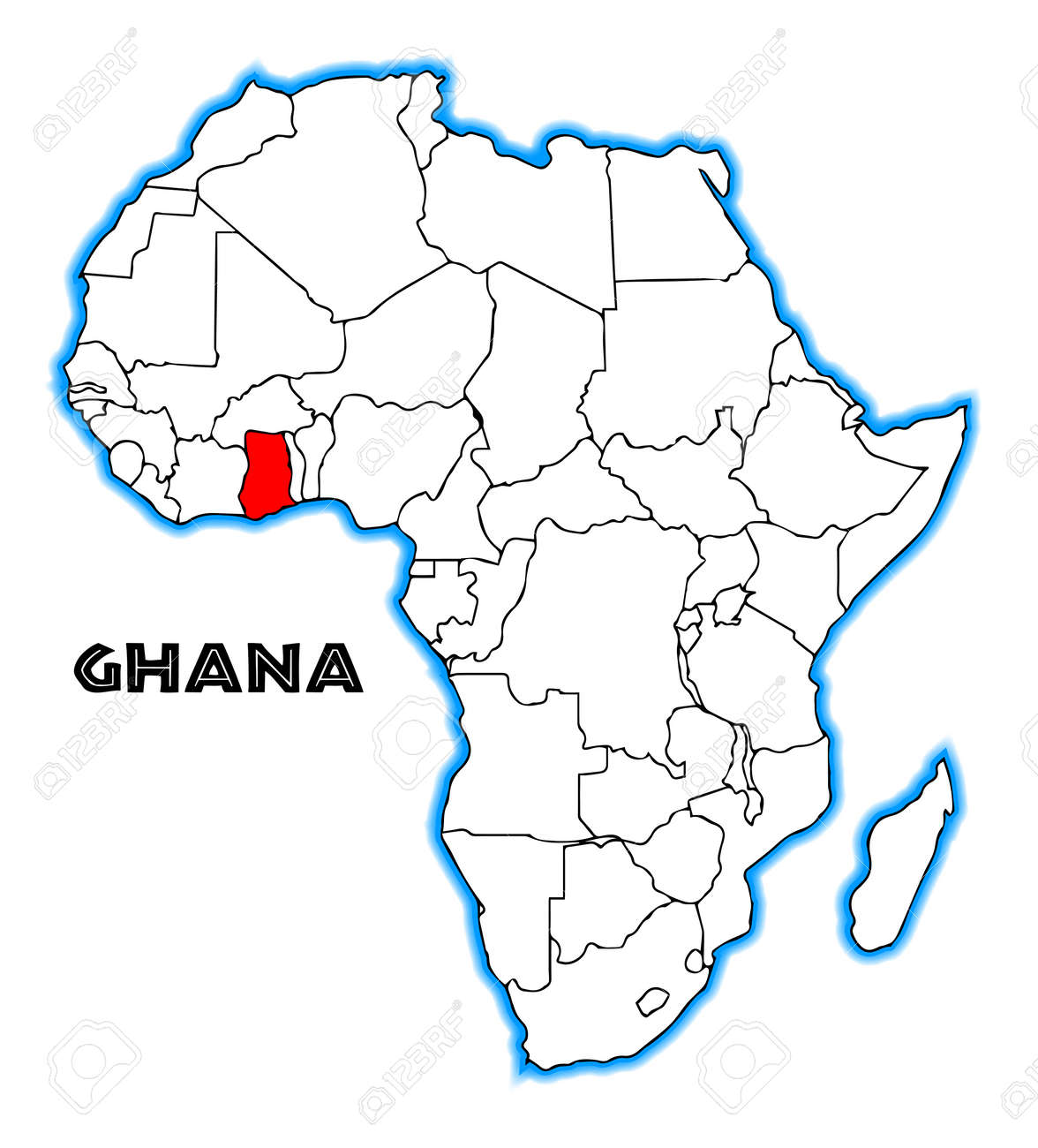 Ghana Outline Inset Into A Map Of Africa Over A White Background