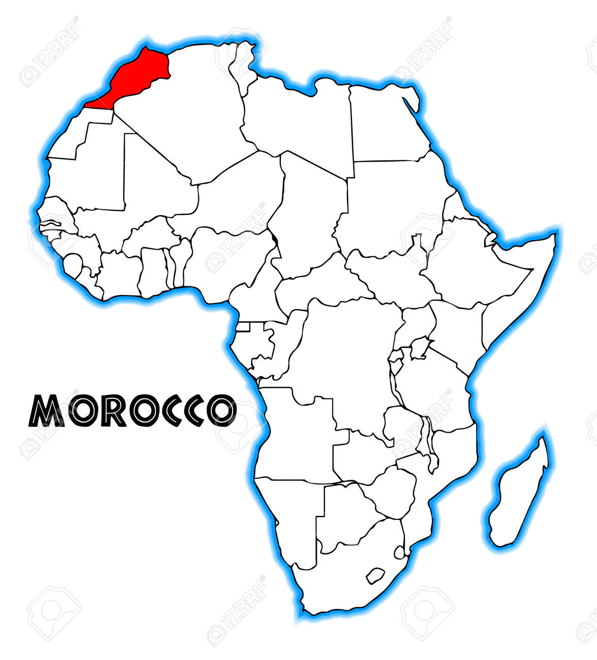 Morocco outline inset into a map of Africa over a white background on