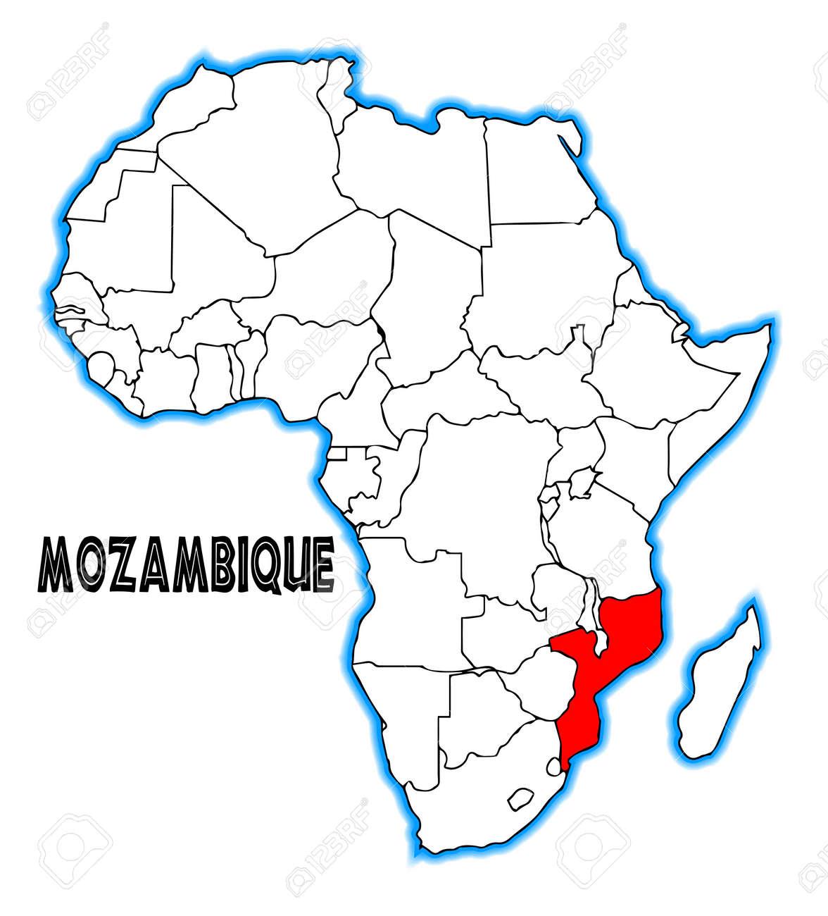 Mosambik Karte.Stock Photo