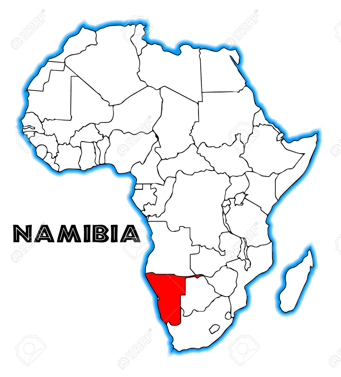 Namibia On Africa Map.Namibia Outline Inset Into A Map Of Africa Over A White Background