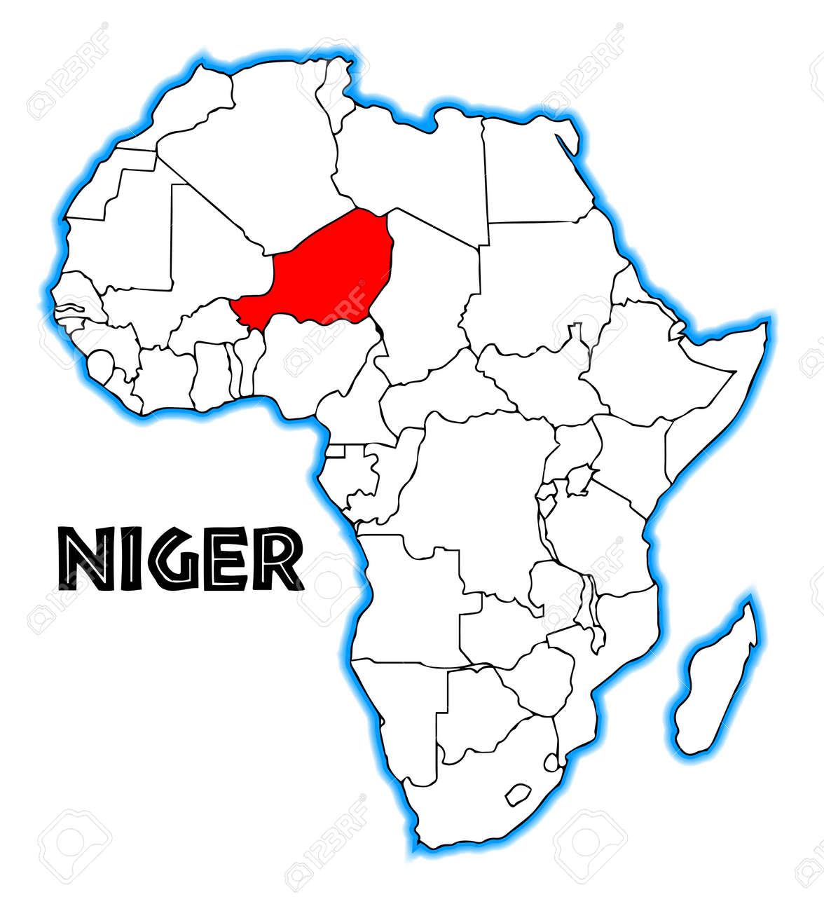 Niger Outline Inset Into A Map Of Africa Over A White Background