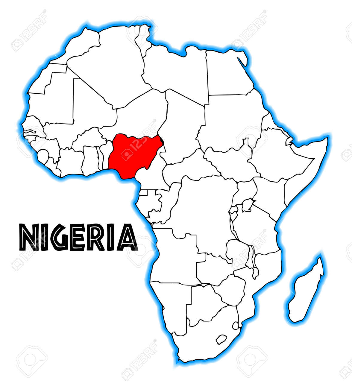 Nigeria outline inset into a map of Africa over a white background