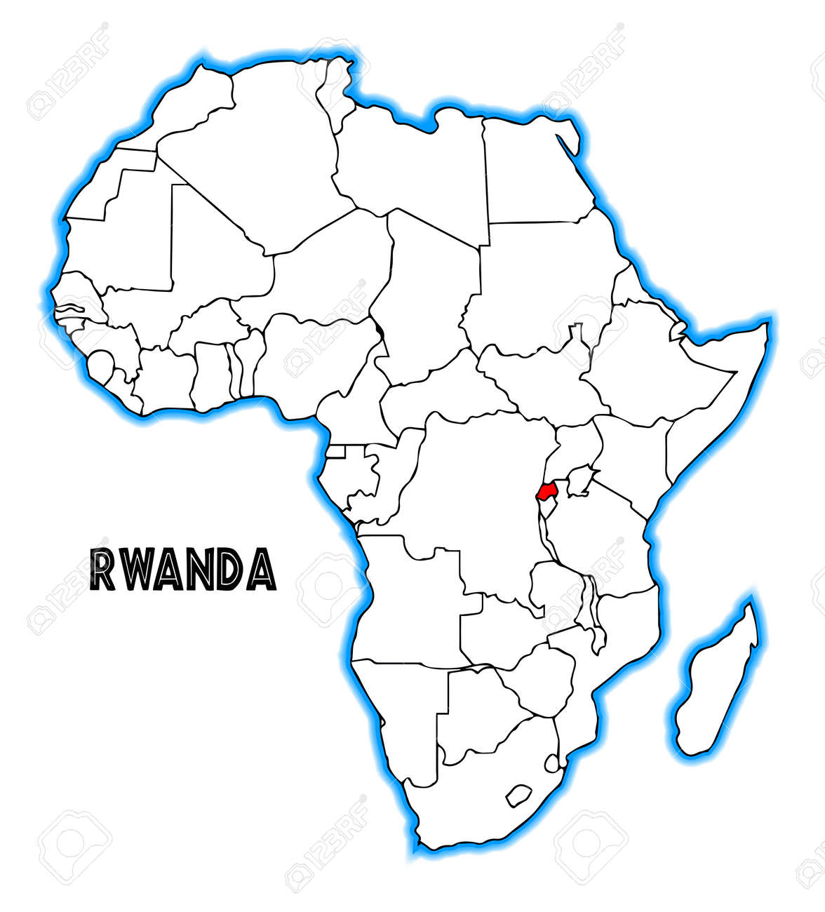 Rwanda Outline Inset Into A Map Of Africa Over A White Background