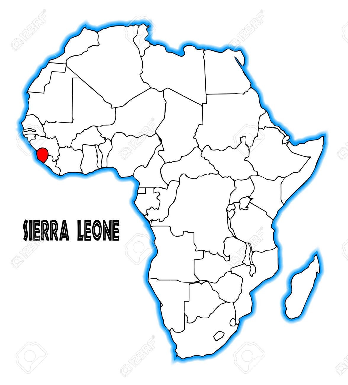 Sierra Leone Outline Inset Into A Map Of Africa Over A White