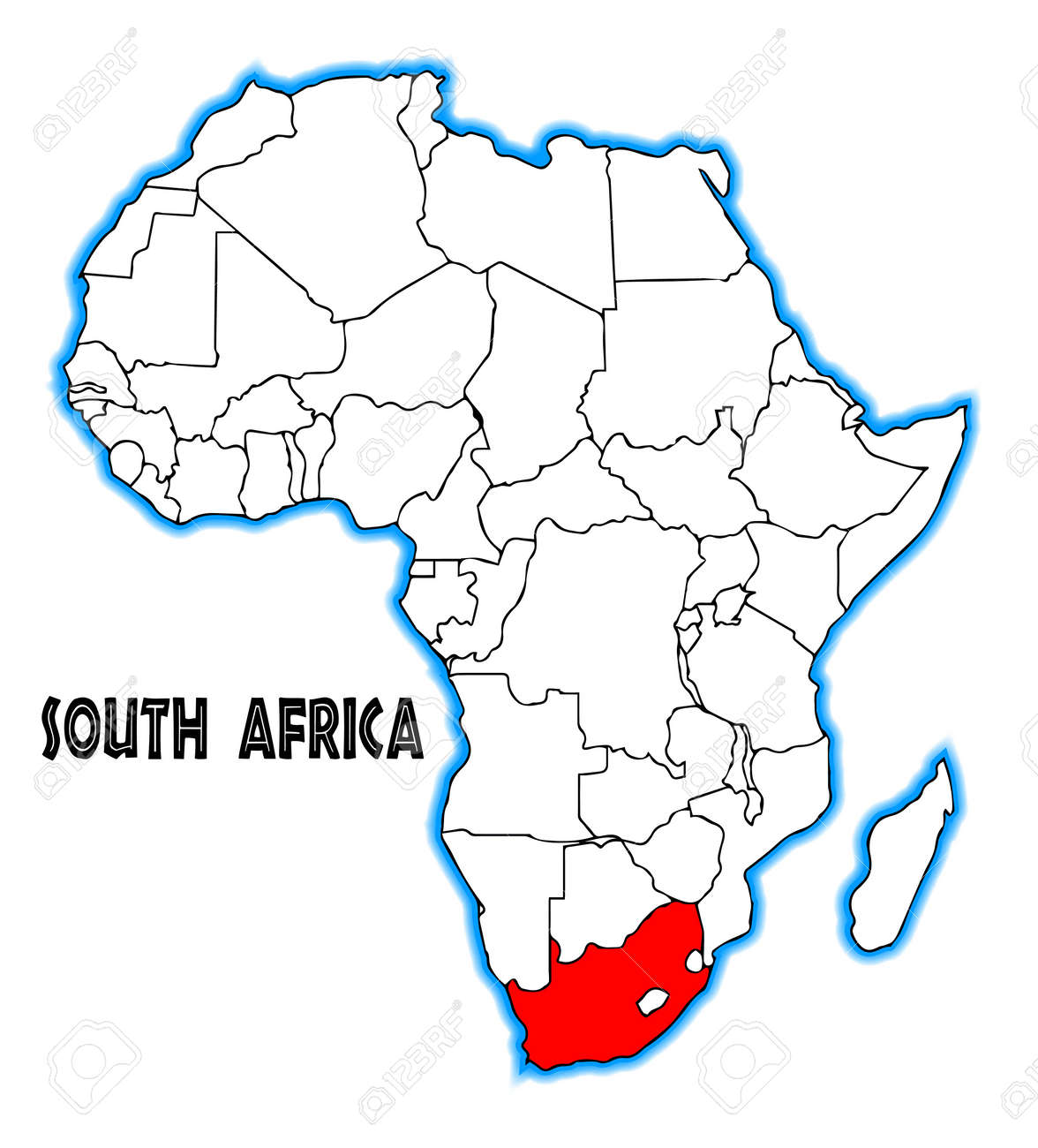 Map Of Africa Outline.South Africa Outline Inset Into A Map Of Africa Over A White