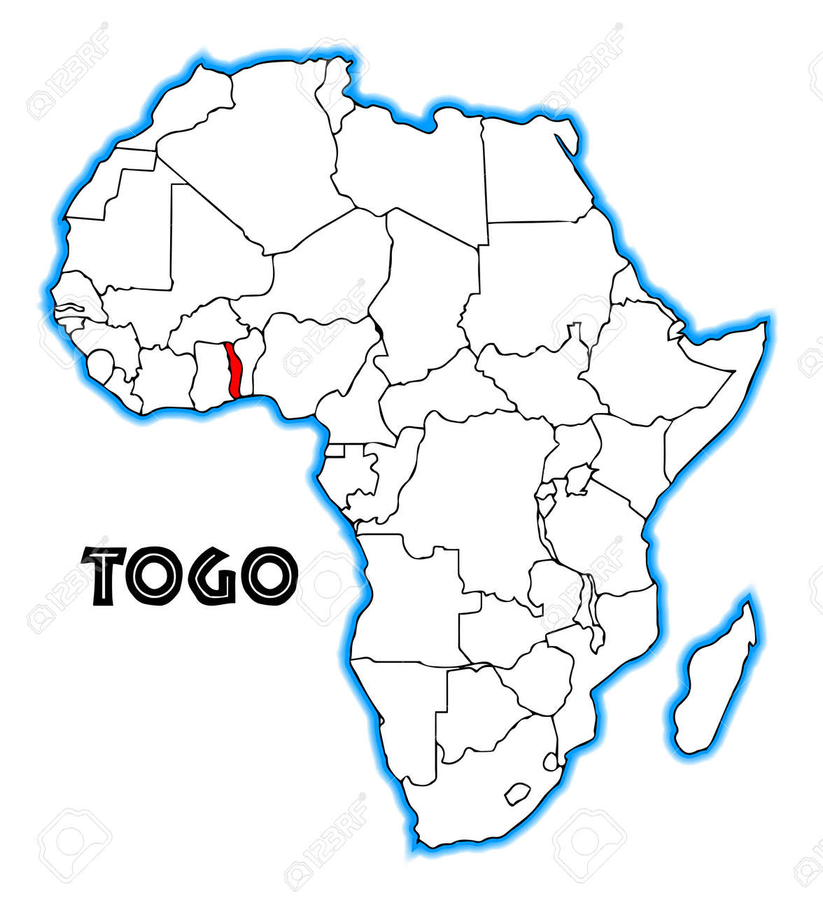 Togo Outline Inset Into A Map Of Africa Over A White Background - Togo map outline