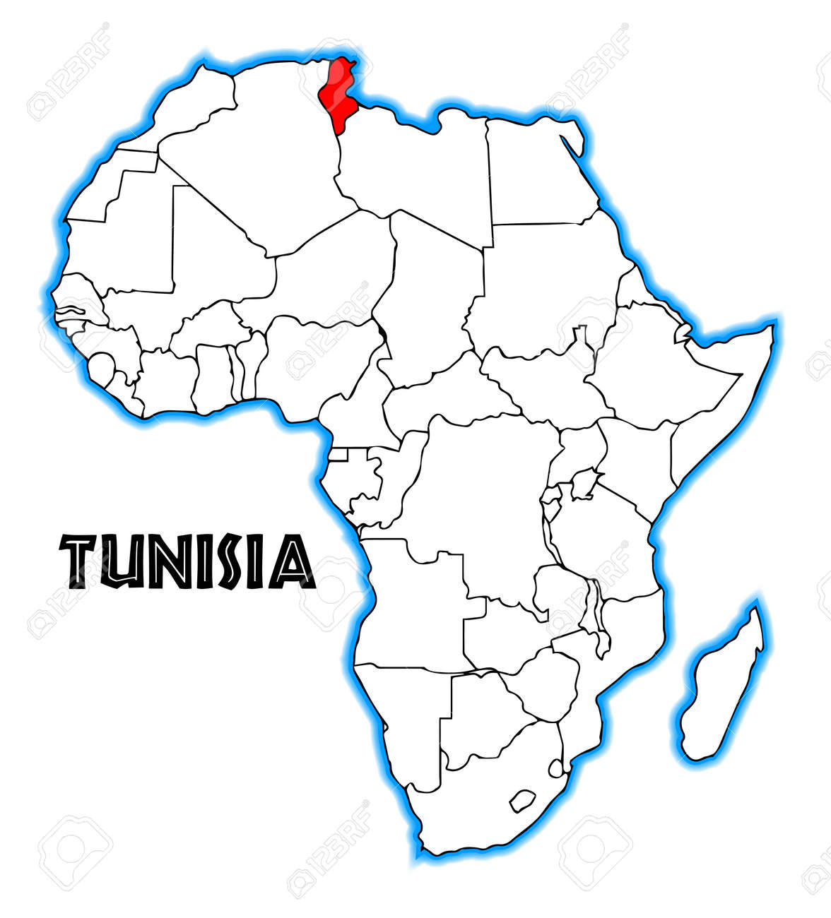 Tunisia Outline Inset Into A Map Of Africa Over A White Background ...
