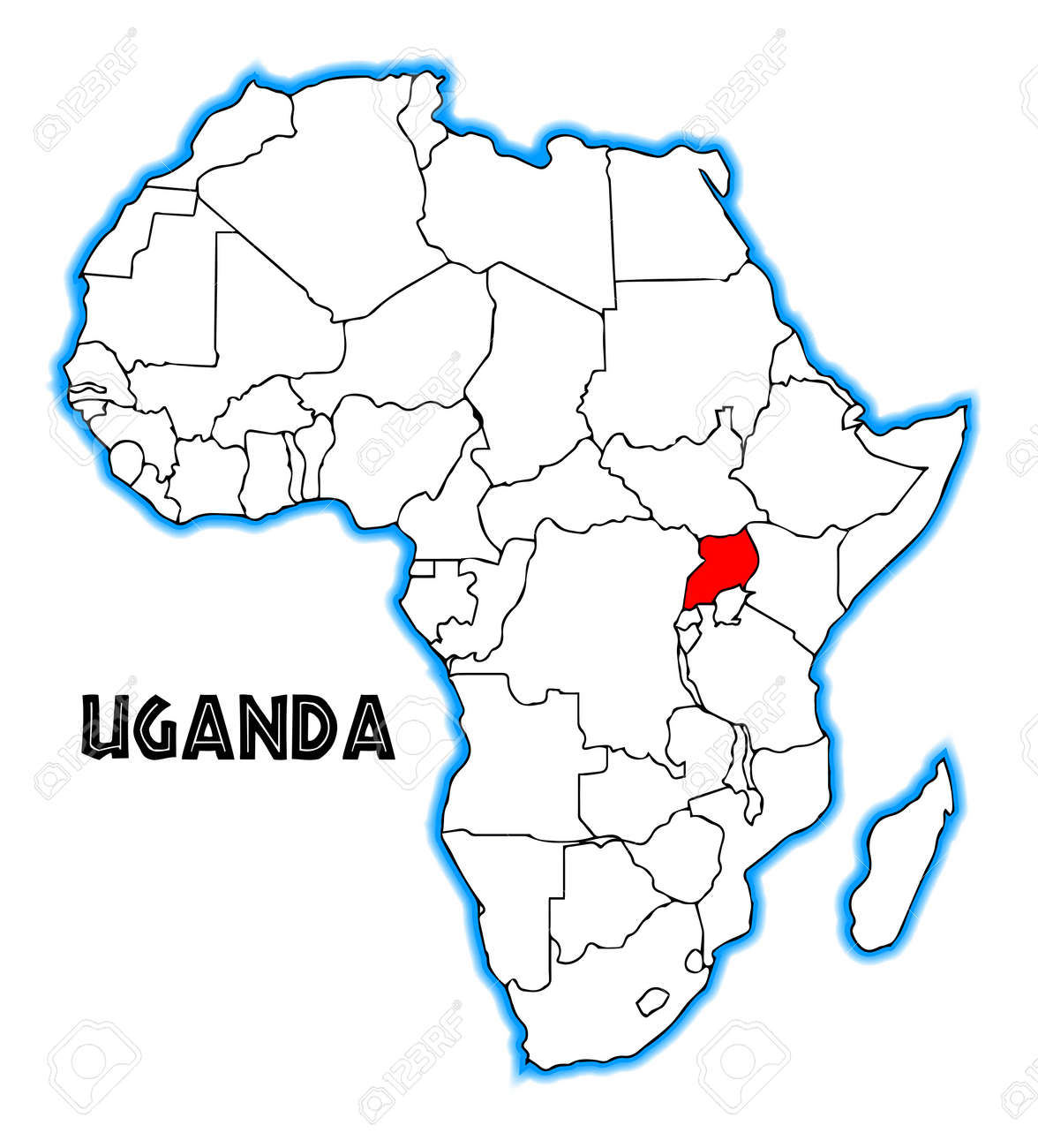 africa map with uganda