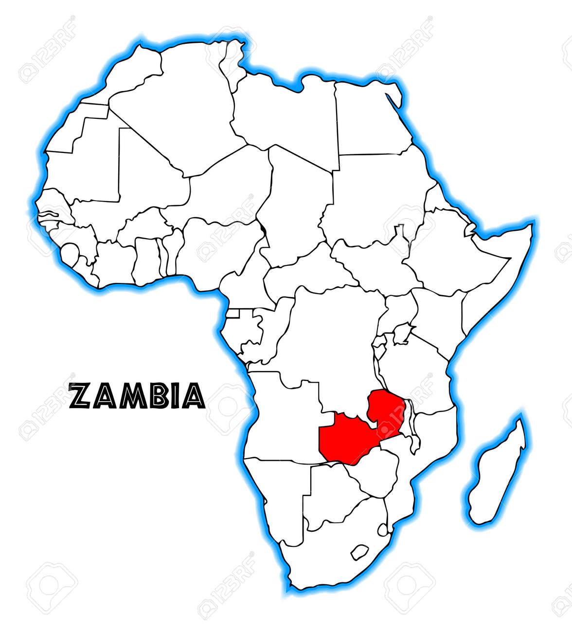 Carte Afrique Zambie.Zambie Apercu Incrustee Dans Une Carte De L Afrique Sur Un Fond Blanc