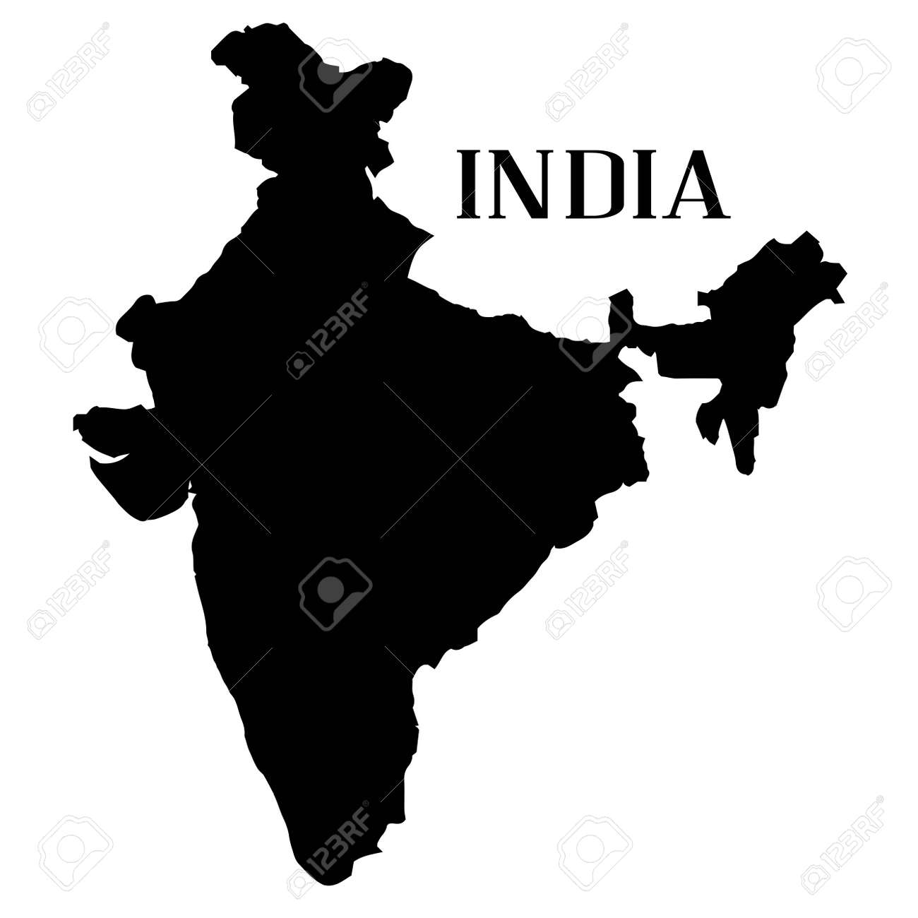 Outline Map Of India In Silhouette On A White Background Royalty - Map silhouette