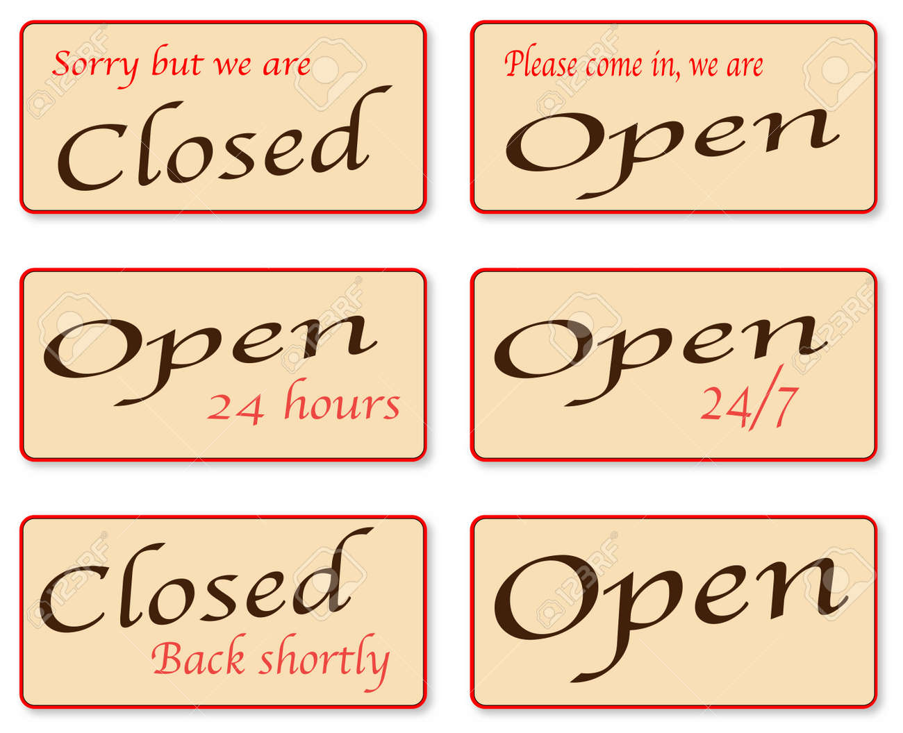 a set of open and closed signs royalty free cliparts vectors and