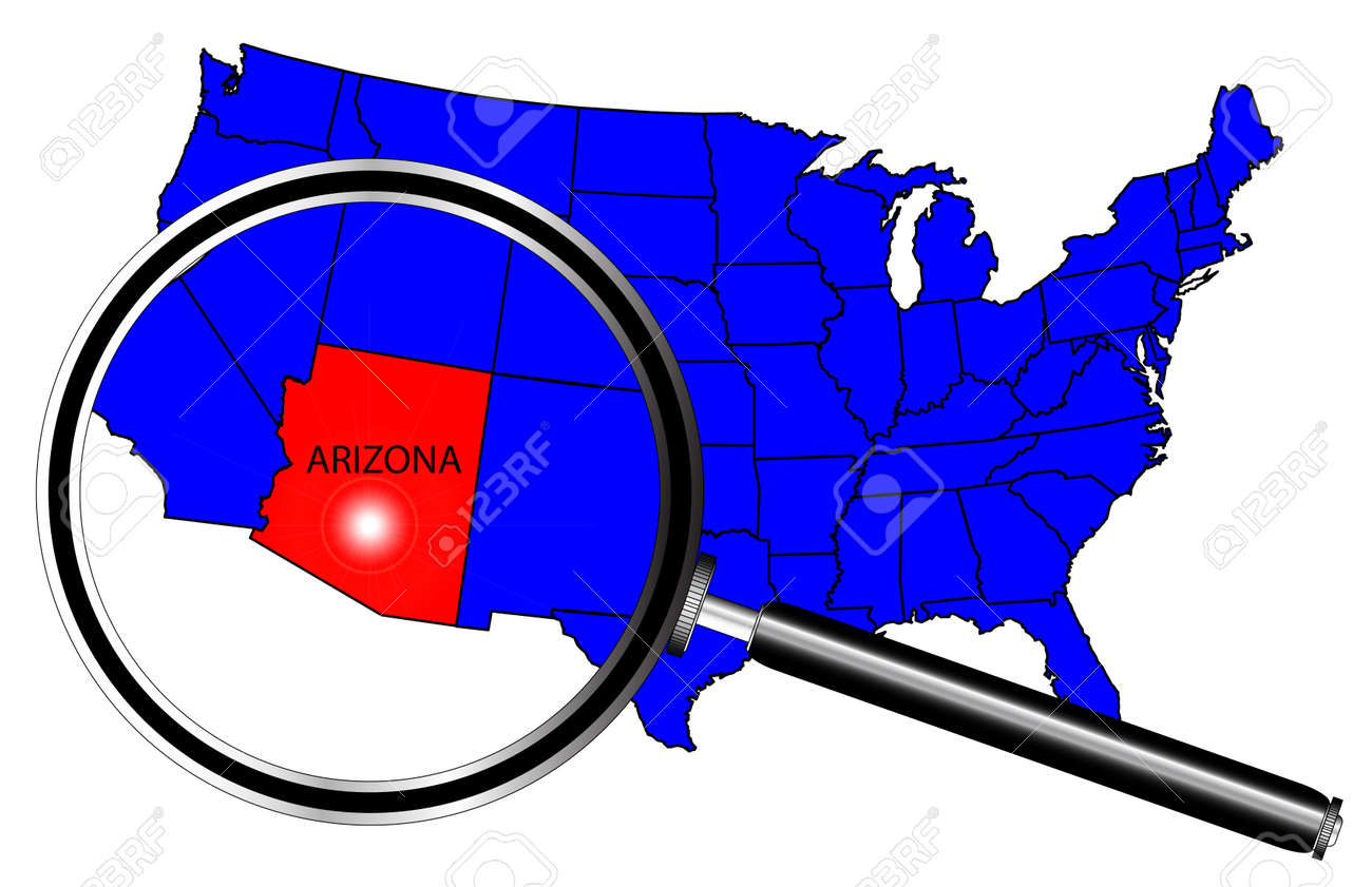 Arizona State Outline Set Into A Map Of The United States Of - Us map with states outlined vector