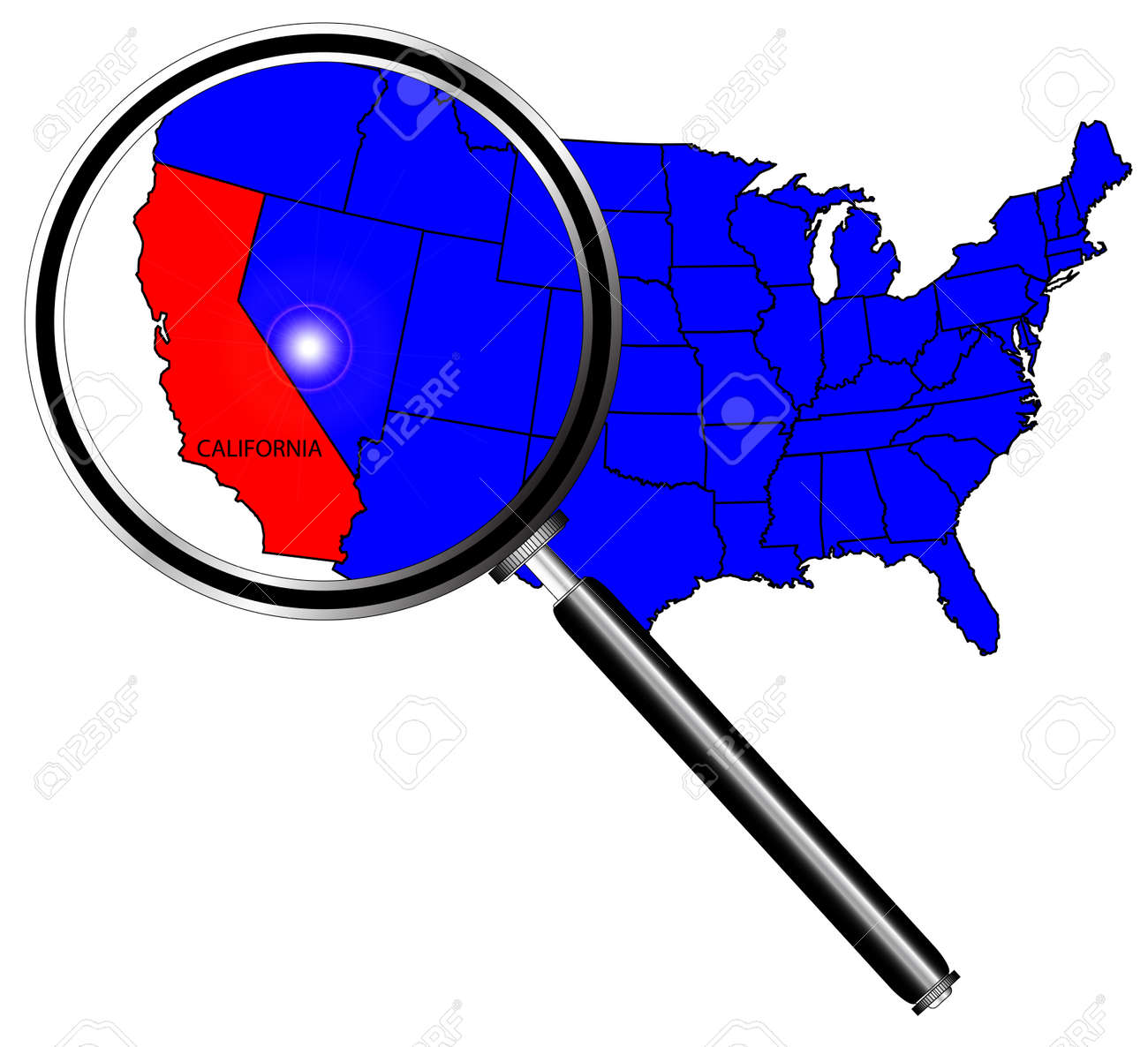 California Map Icon.California State Outline And Icon Inset Under A Magnifying Glass
