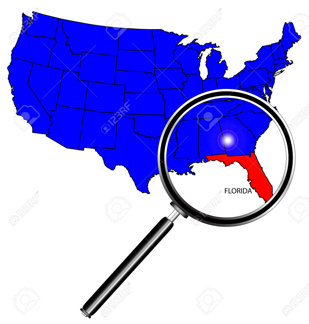 florida state outline set into a map of the united states of america with magnifying glass
