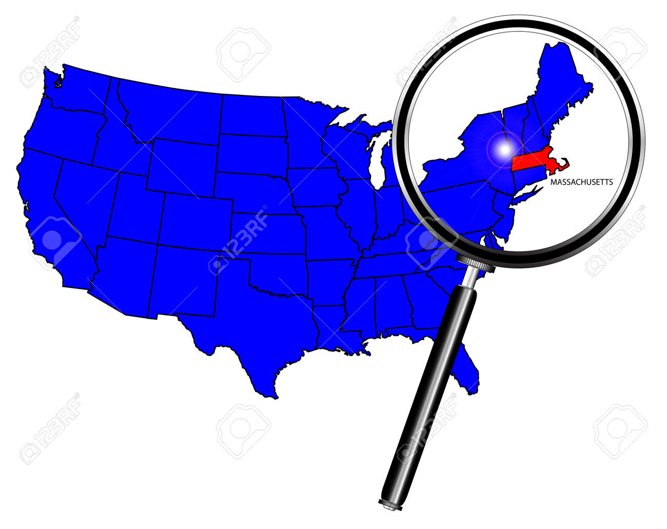 Massachusetts State Outline Set Into A Map Of The United States - Massachusetts us map