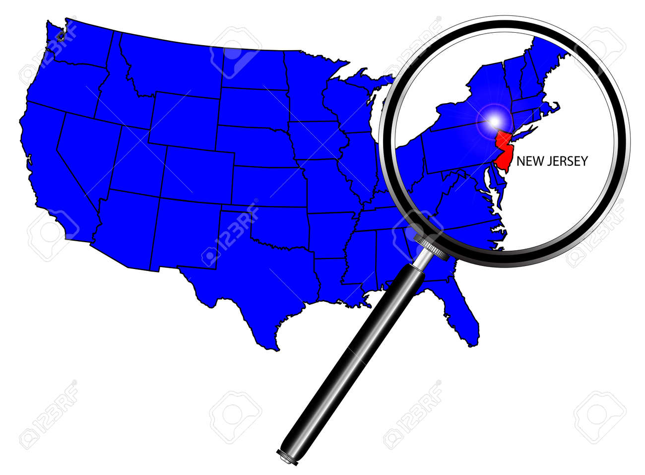 New Jersey State Outline Set Into A Map Of The United States