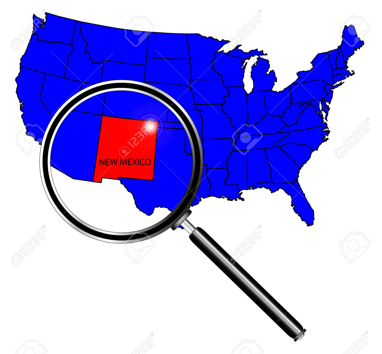 New Mexico State Outline Set Into A Map Of The United States ...