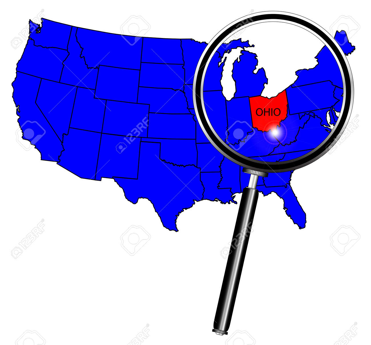 Ohio State Outline Insetinto A Map Of The United States Of America - Us map ohio state