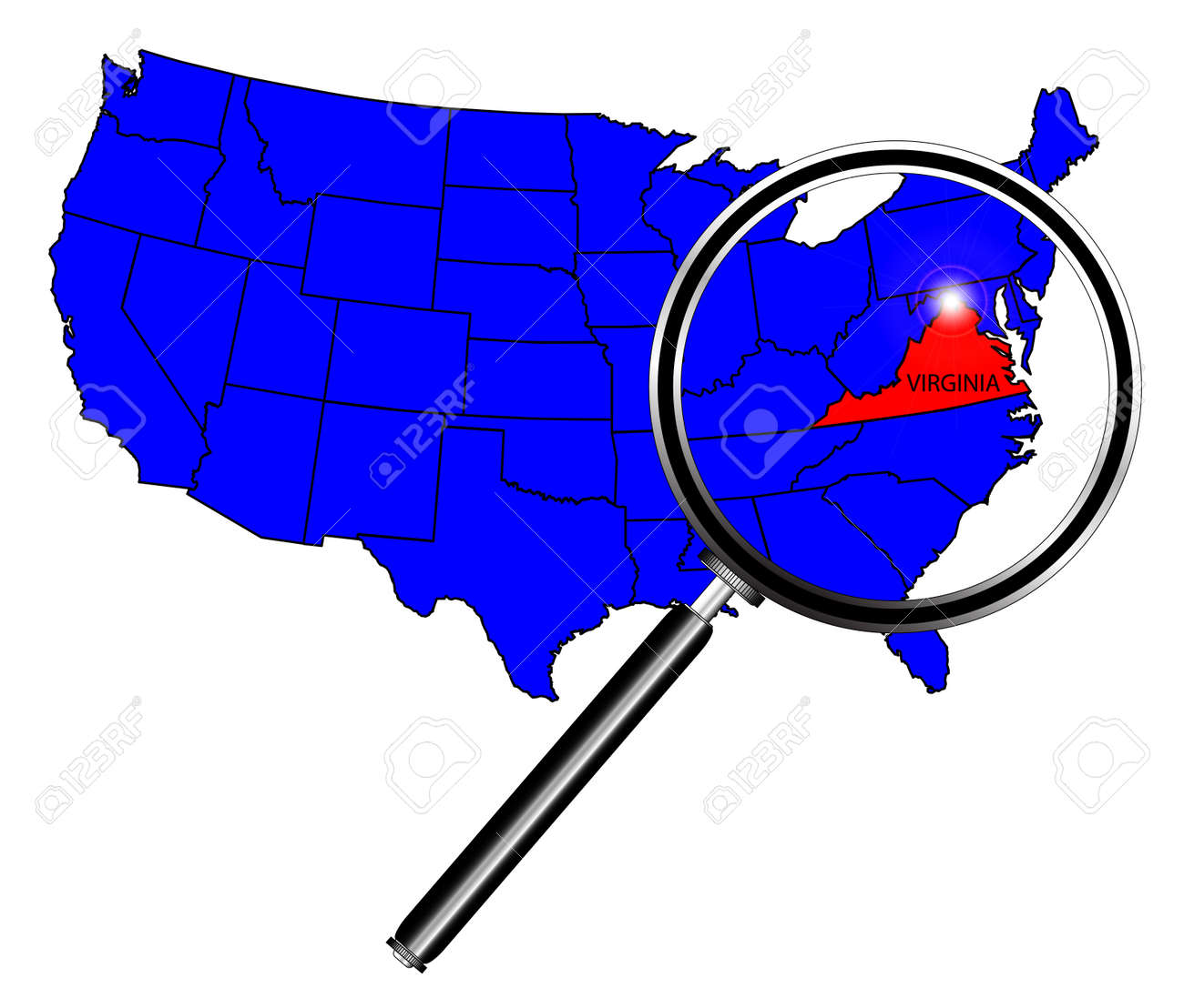 Virginia State Outline Set Into A Map Of The United States Of - Virginia state map united states