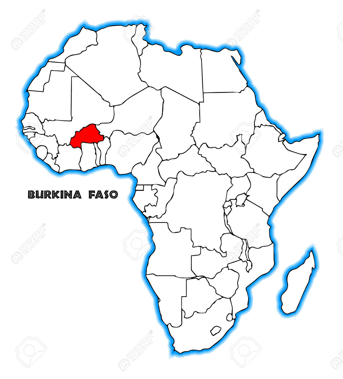 burkina faso carte afrique Burkina Faso Outline Inset Into A Map Of Africa Over A White