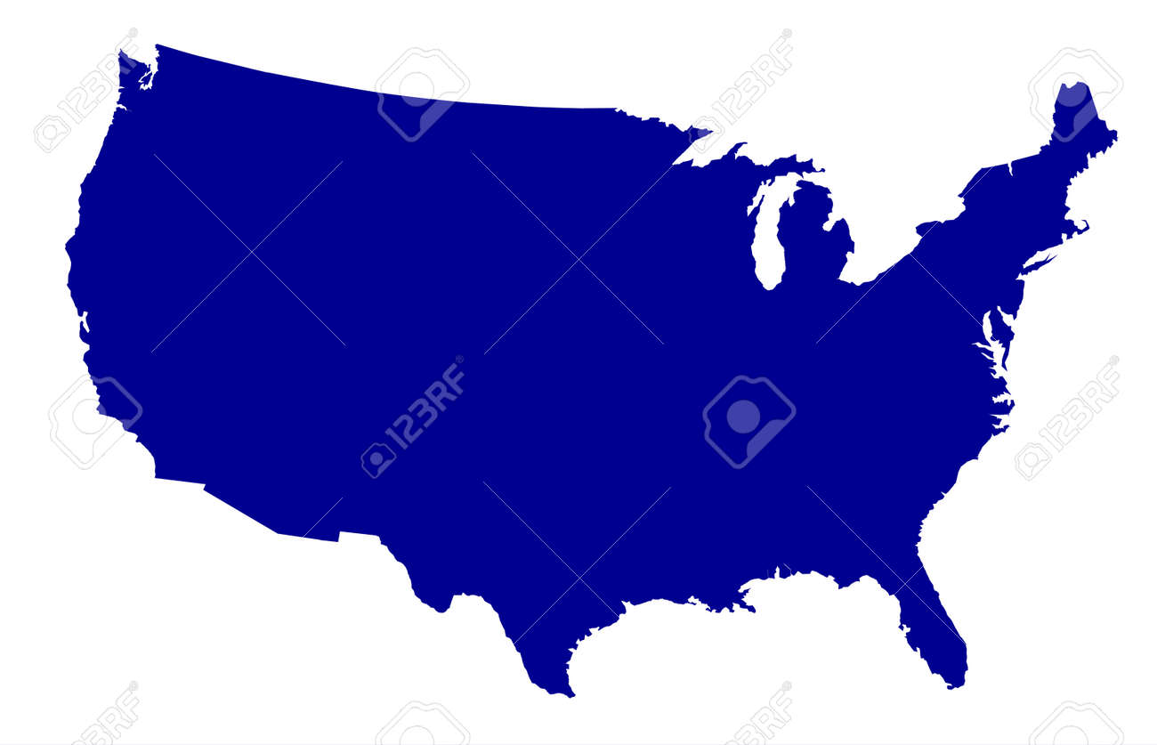 An outline silhouette map of The United States of America over a white background - 42853419