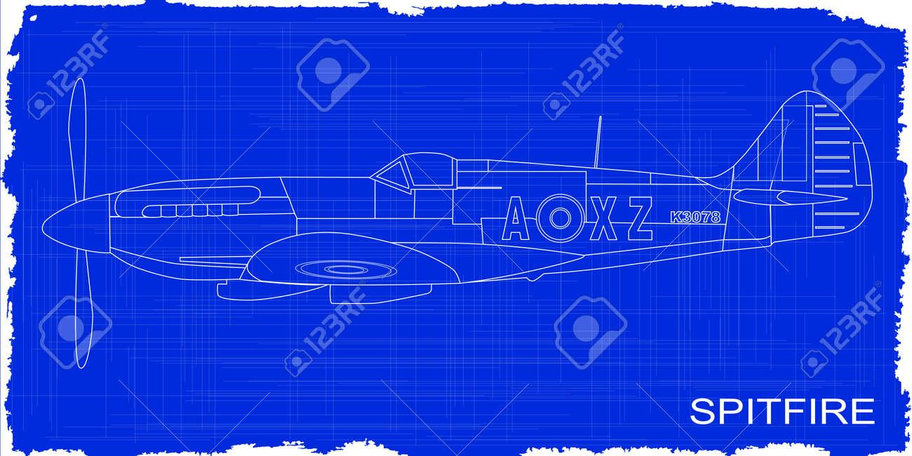 A supermarine world war ii spitfire mark xiv fighter plane as a supermarine world war ii spitfire mark xiv fighter plane as a blueprint stock vector malvernweather Choice Image