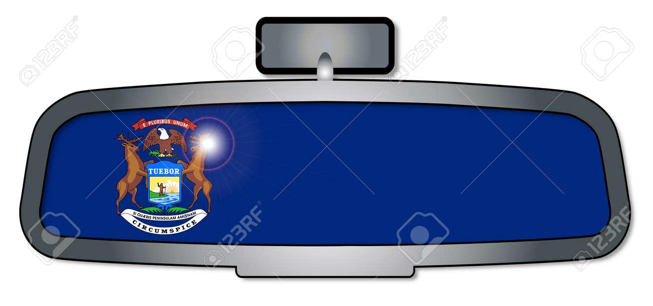 Un Espejo Retrovisor Del Vehículo Con La Bandera Del Estado De ...