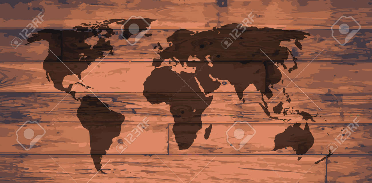 World Atlas Outline Map Brand On Wooden Board Royalty Free Cliparts ...