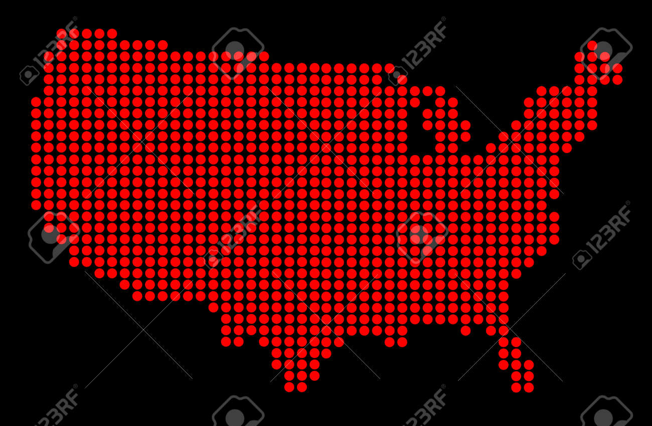 United States Map In Dots Stock Photography Image  Maps - United states map vector free ai