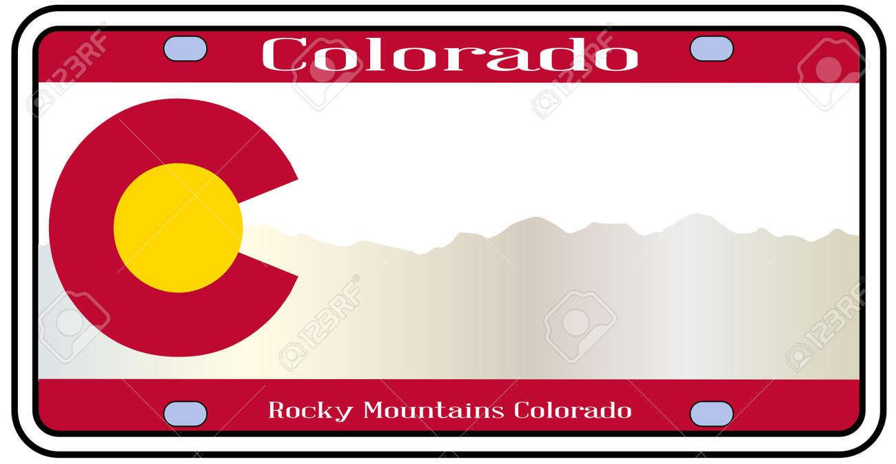 Colorado State License Plate In The Colors Of The State Flag