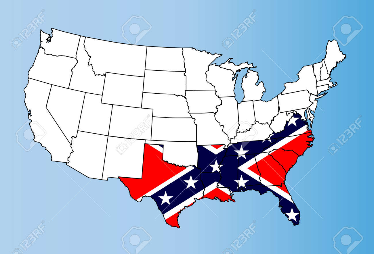 Map Of The United States Showing The States.An Outline Map Of Theunited States Of America Showing The Confederate