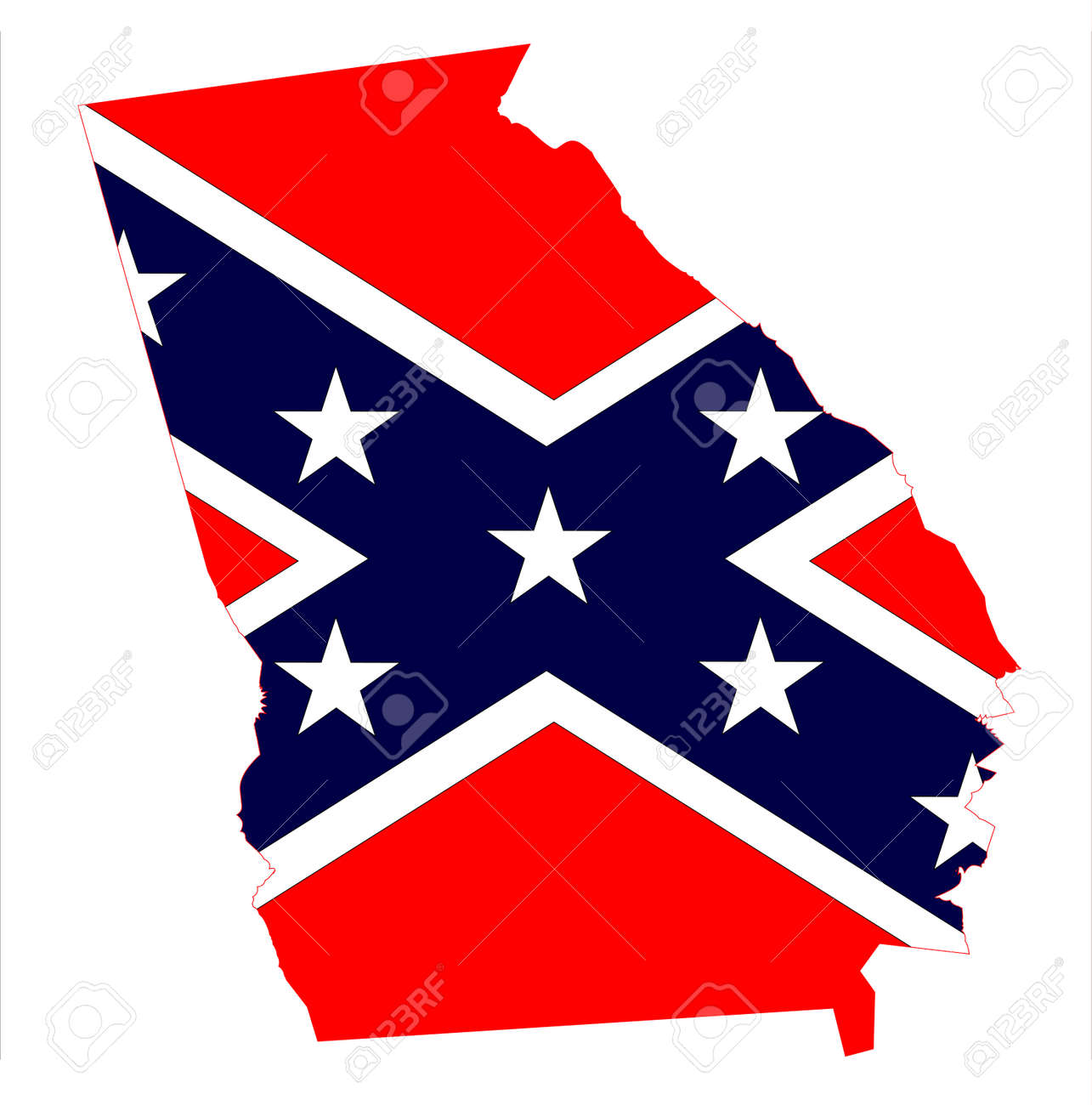 State Map Outline Of Georgia With Confederate Flag Over A White - Ga map vector