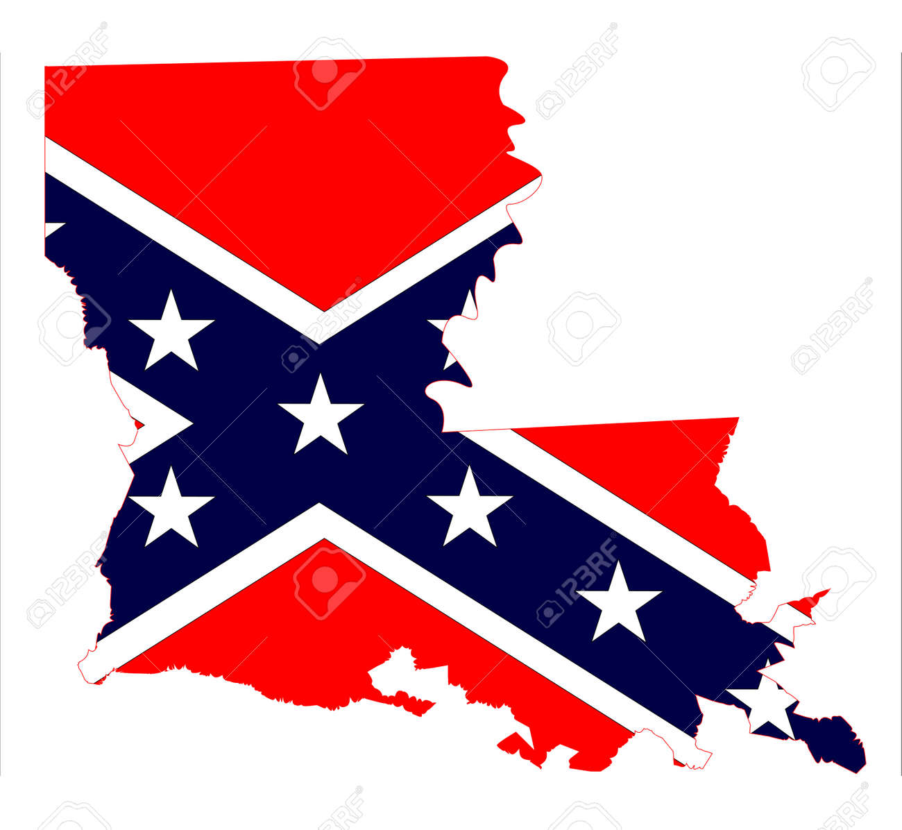 State Map Outline Of Louisiana With Confederate Flag Inset Over - Blank map of united states during civil war