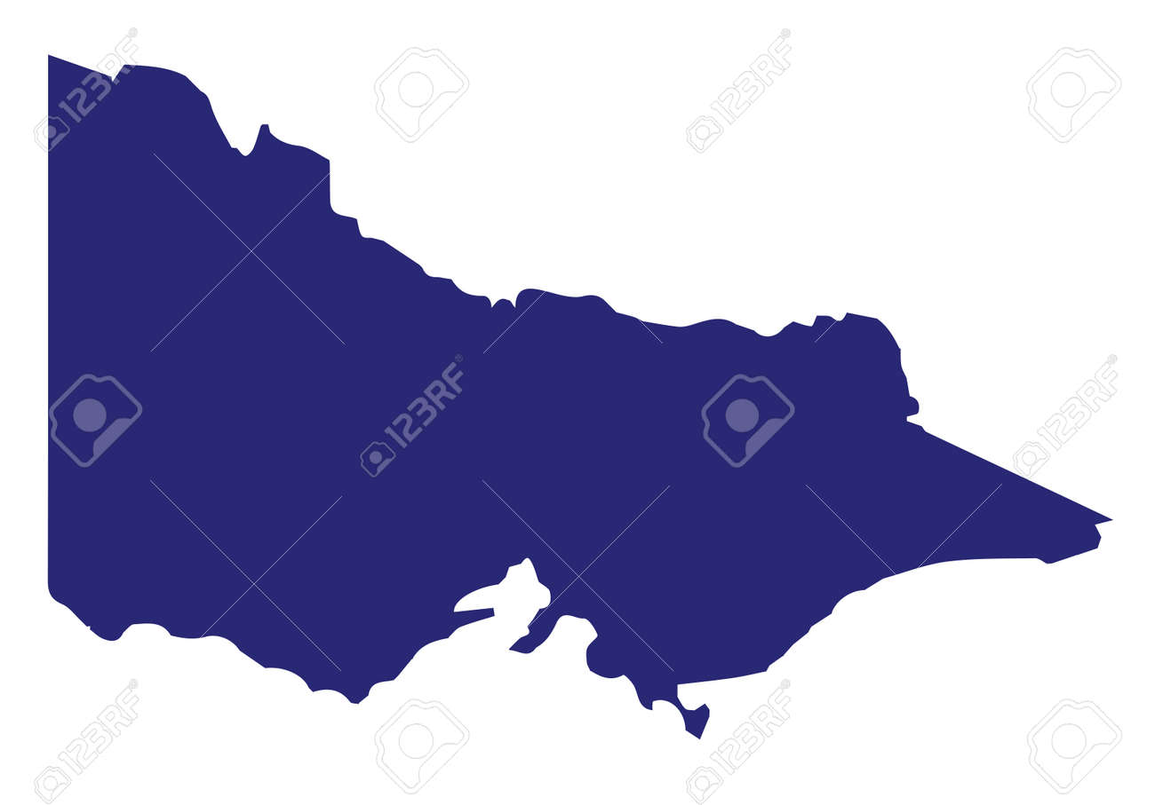 Australian State Map.Silhouette Map Of The Australian State Of Victoria Over A White
