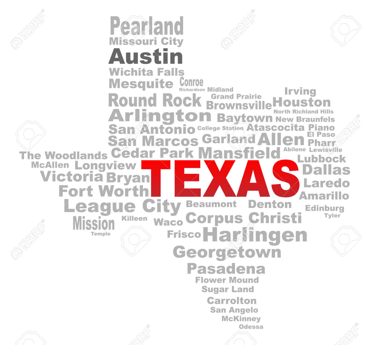 A Texas Map Shape With The Text TEXAS And The Names Of The Major - Map north texas cities