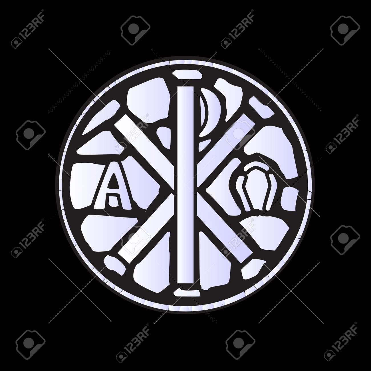 An Alpha Omega Symbol Glass Window Over A Black Background Royalty