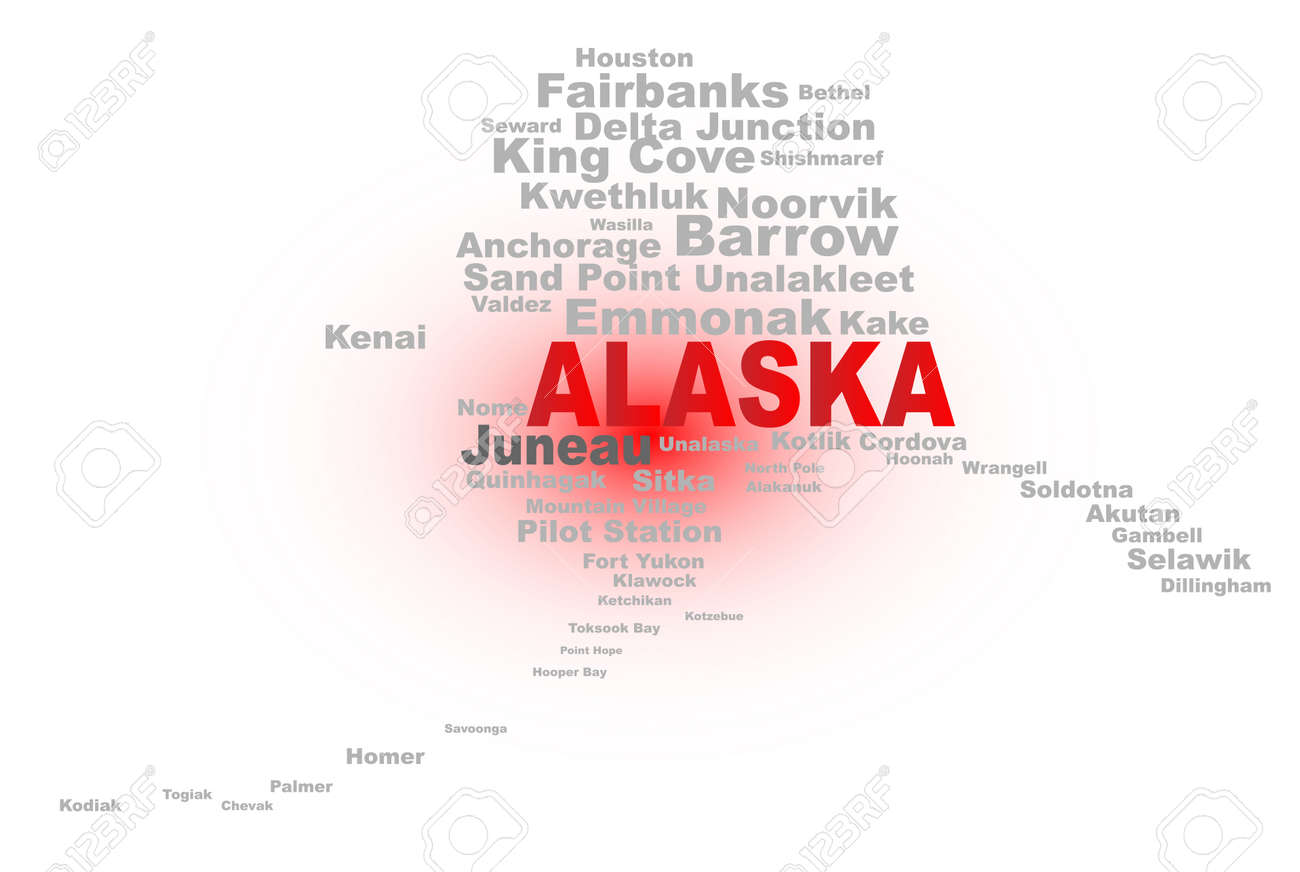 State Map Shape With The Text ALASKA And The Names Of The Major - Alaska state map with cities
