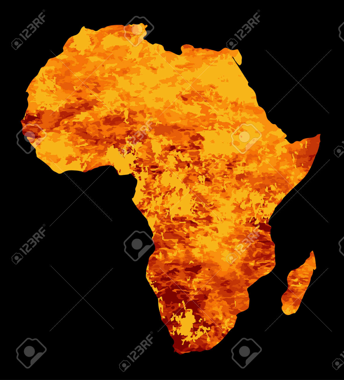 Silhouette Map Of Africa With Fire And Flames Inset Royalty Free
