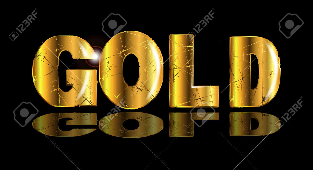 the word gold in gold text over a black backround royalty free