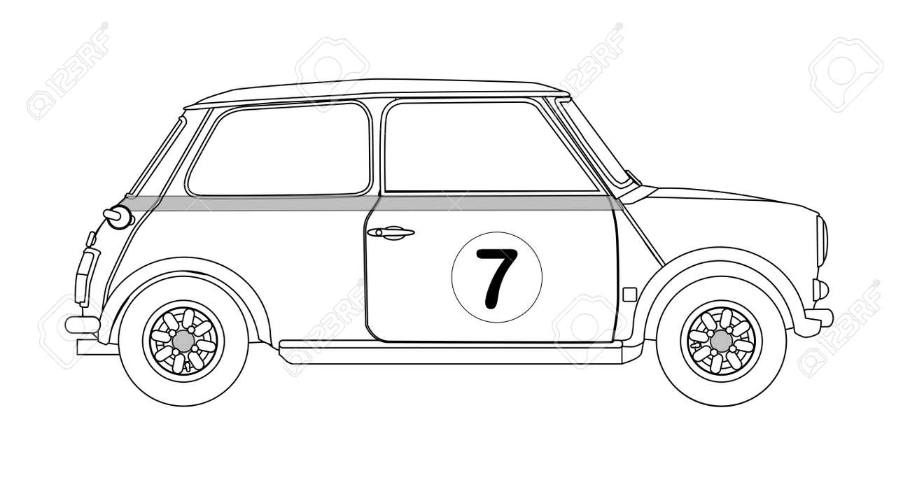 a typical compact small car outline isolated on a white background
