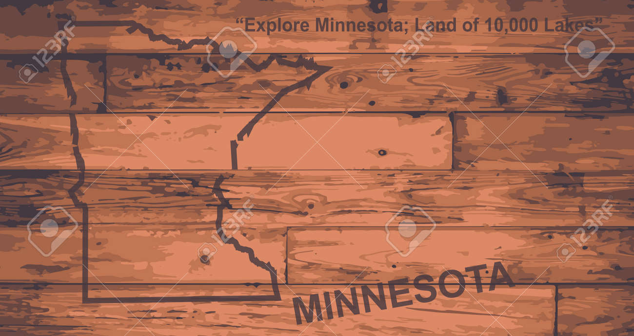 Minnesota State Map Brand On Wooden Boards With Map Outline And State Motto  Stock Vector