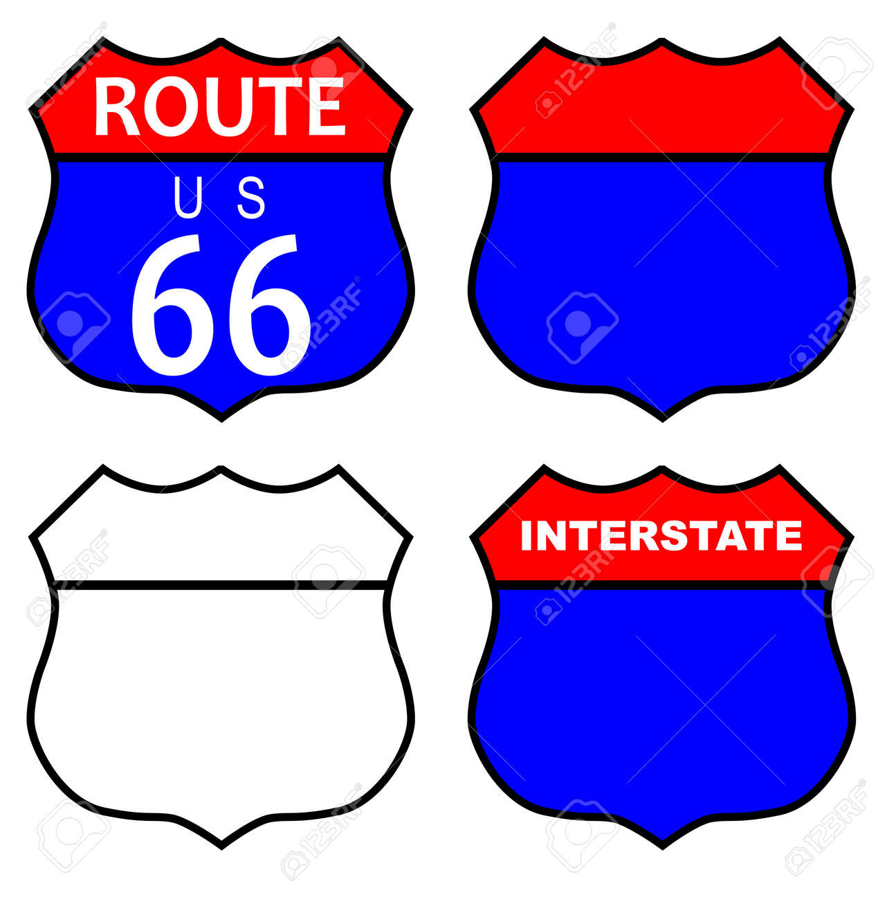 Route 66 Traffic Sign With Template And Interstate Sign Over ...