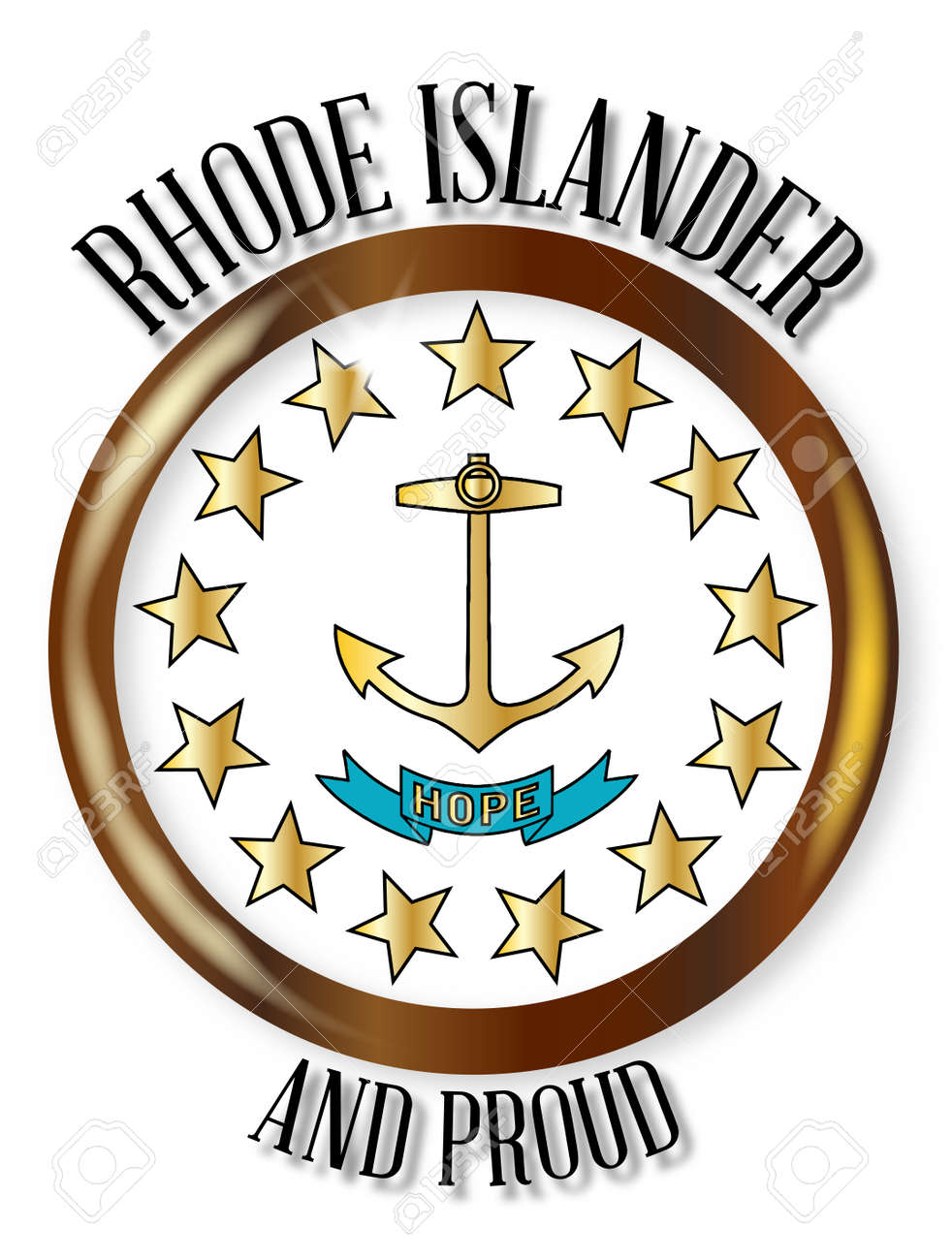 Rhode island state flag button with a gold metal circular border rhode island state flag button with a gold metal circular border over a white background with biocorpaavc Choice Image