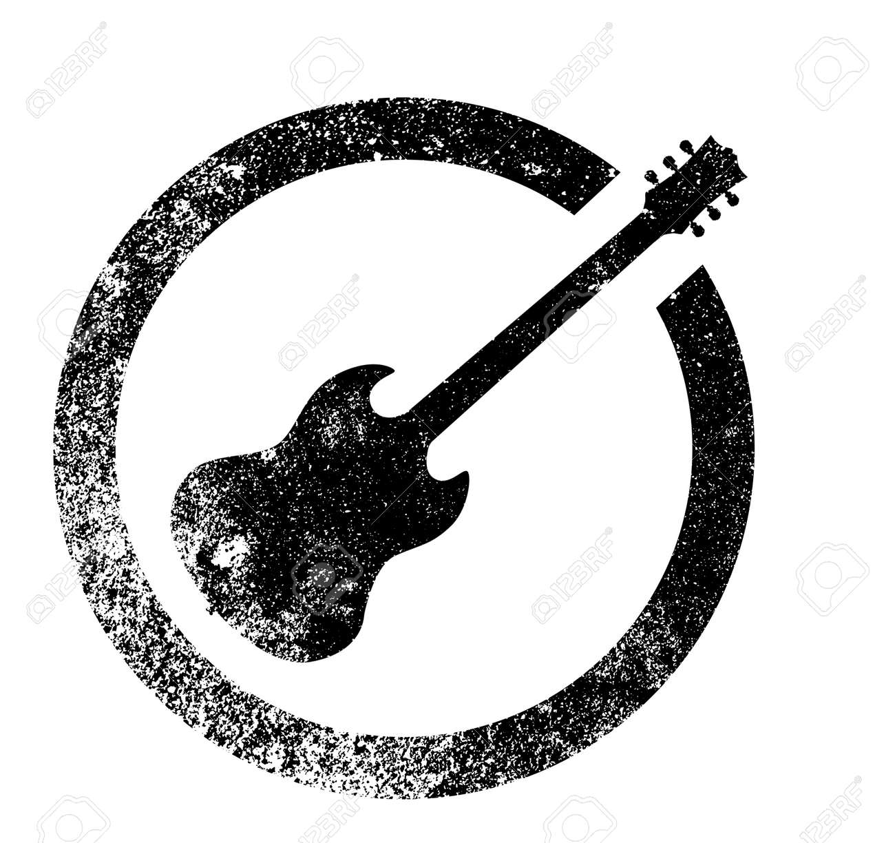 The Standard Rock And Roll Guitar As As Rubber Ink Stamp In Black