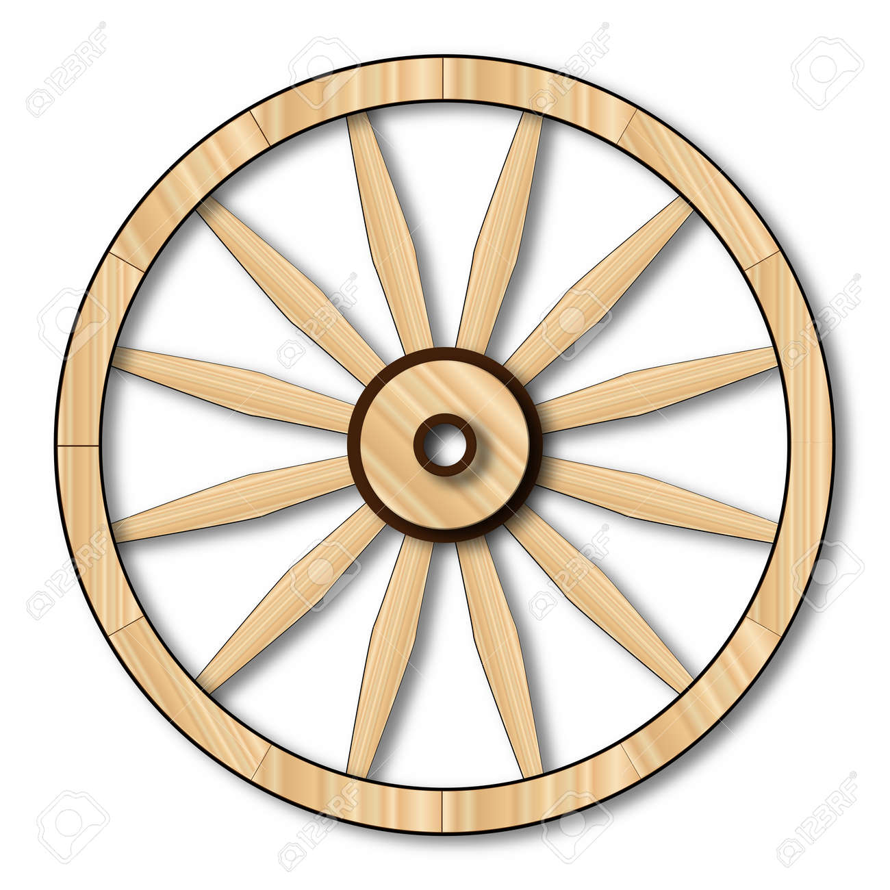A Typical Wheel From A Western Covered Wagon Stock Photo, Picture ...