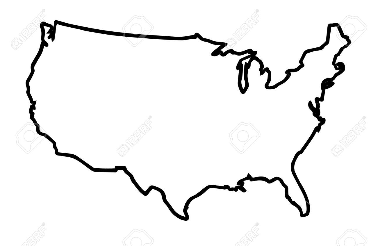 A broader outline map of the United States of America over a..