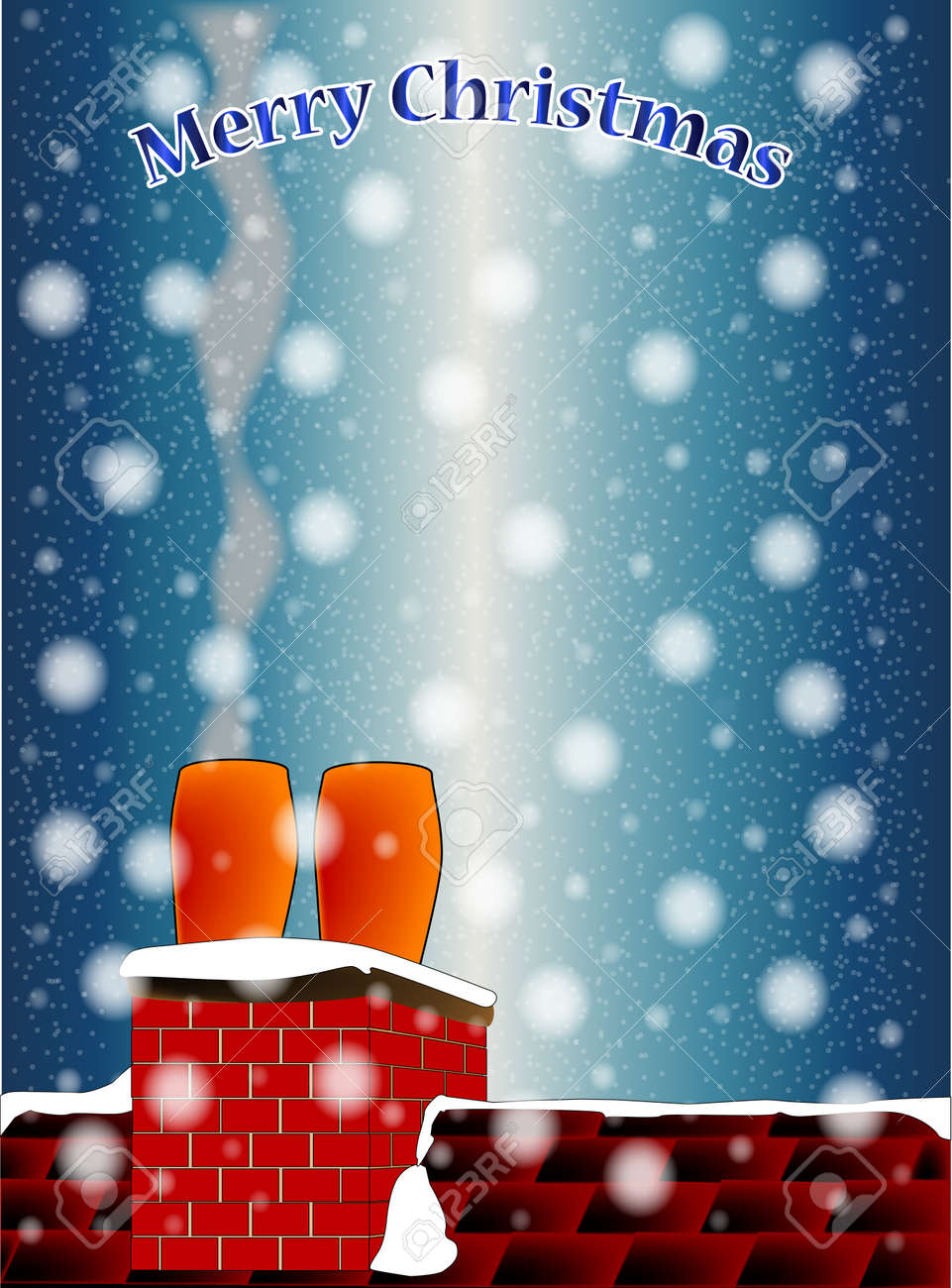 Un Toit Sur Un Réveillon De Noël Froid Et Neige Avec Un Message Marry Noël