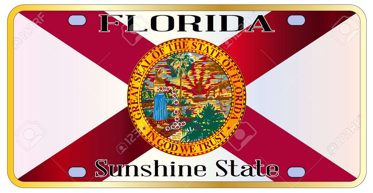 Florida State License Plate With State Flag Over A White Background